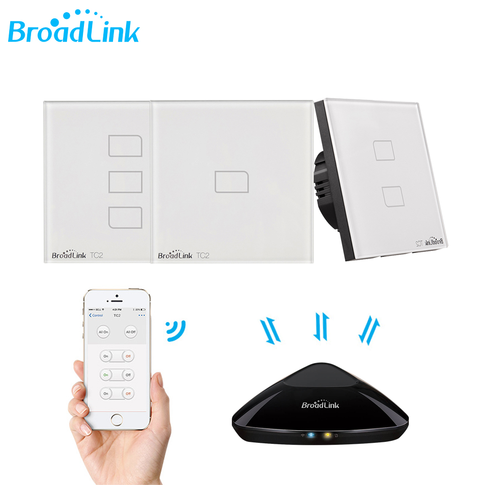 Broadlink TC2 1/2/3 Gang-EU Standard 433Mhz Light Switch Modern Design White Touch Panel Wifi Wireless Smart Control Via RM Pro