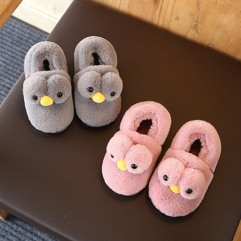 Winter Children Home Slippers Shoes Kids Baby Cartoon Big Eyes Duck Slippers Baby Boysgirls Indoor Slippers Warm Cotton Shoes