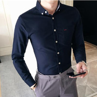 Spring and summer casual shirt men's long sleeved shirt cotton small square collar fashion Slim solid color shirt men's cotton