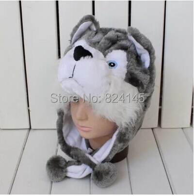 beanie Cartoon animal plush hat light gray husky section Caps>>Skullies & Beanies