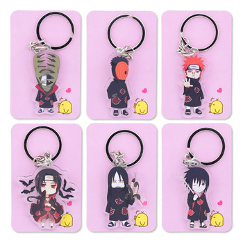 2018 Naruto Keychain Cute Double Sided Akatsuki Panther Key Chain Customize Anime Ring PCB178-193 - sale item Fashion Jewelry