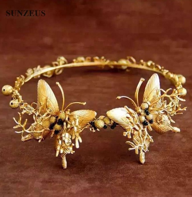 Estilo de europa Do Vintage Barroco Coroa Com Borboletas Tiara De Noiva Moda Noiva Chapéus SQ068