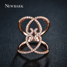 NEWBARK New Arrival Rose Gold Plated Female Full Finger Ring Tiny CZ Paved Fashion Jewelry Heart-shaped Hollow Rings For Women