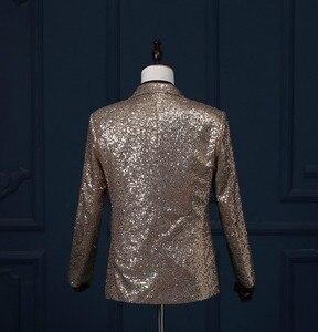 Image 5 - PYJTRL Mâle Slim Fit Veste De Mode Or Royal Bleu Rouge Silver Sequin Blazer Hommes Stage Porter Blazer Designs Costumes Pour chanteurs
