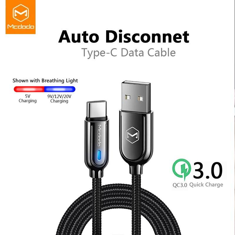 Mcdodo USB Typ C 3A Schnelle Lade Auto Trennen Kabel Für Samsung Galaxy S10 S9 xiaomi redmi note 7 Ladegerät Datenkabel USB C