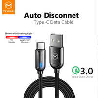 Mcdodo USB Type C 3A Fast Charging Auto Disconnect Cable For Samsung Galaxy S10 S9 xiaomi redmi note 7 Charger Data Cable USB C
