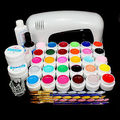 BTT-117    free shipping PRO 9W White UV Lamp 30 Colors Pure UV GEL Acrylic Brush Nail Art Kits