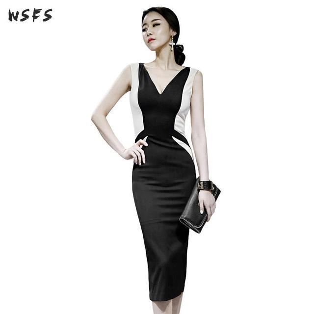 quality design 19527 2a37a Sommer Kleider Schwarz Behälter sleeveless Frauen Kleid Büro Damen Slim  Sexy Party Vintage Elegante Bodycon Bleistift Wrap Engen