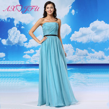 AXJFU luxury princess Lake blue beach vintage evening dress