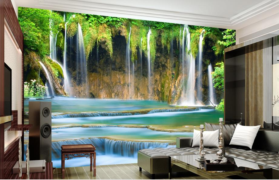 Popular wallpaper waterfall buy cheap wallpaper waterfall for 3d wallpaper for living room malaysia