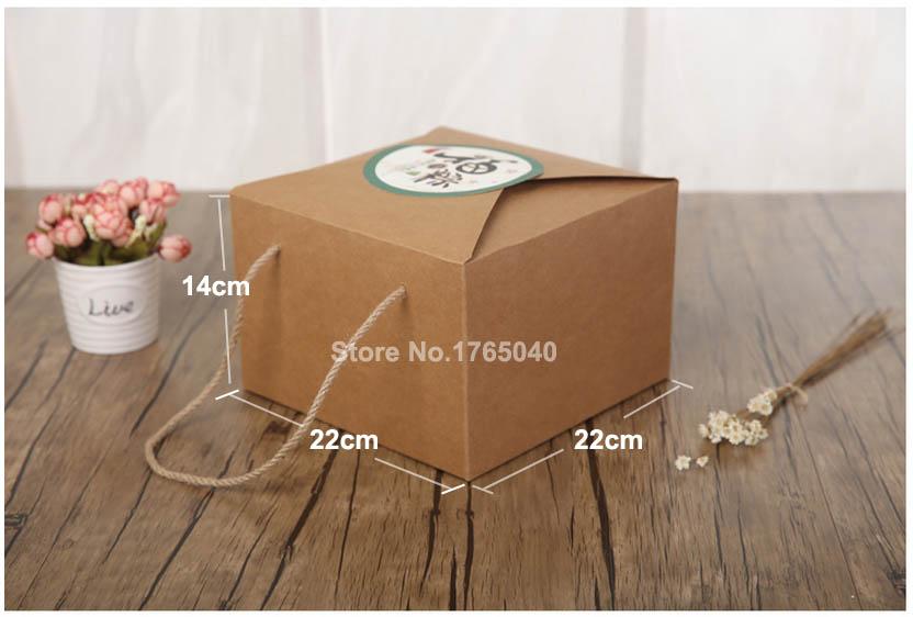 22 22 14cm Kraft paper box gift candy packing box Fruit rice dumplings dried fruits tea