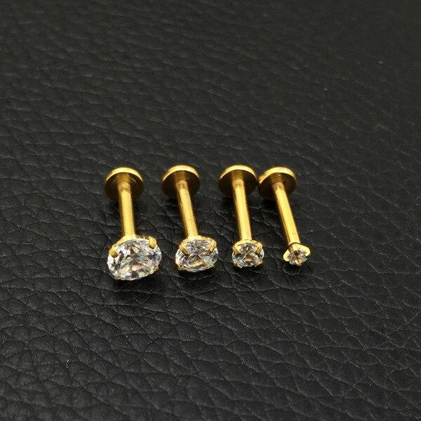 Фото кольцо для губ анодированное из нержавеющей стали с фианитом
