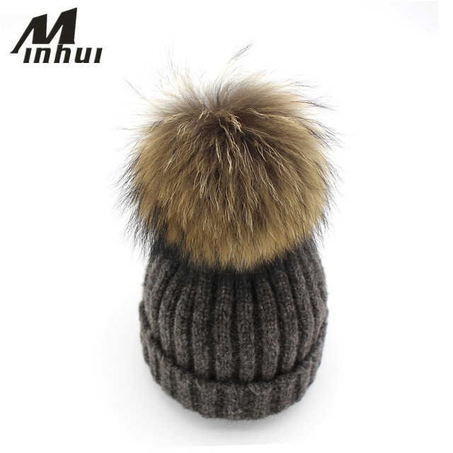 Minhui Women Winter Wool Hat Fashion Real Mink and Fox Fur Pompom Hat Girls Skullies Beanies Gorro Touca Pom Poms Female Caps