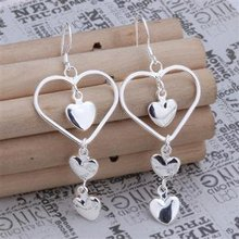 Free Delivery 925 Sterling Silver Earrings,Three Hearts Earrings,925 Sterling Silver Earrings wholesale jewellery E085