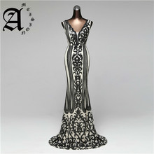 Ameision New Double-V Long Evening Dress 2019 Sexy Backless Luxury Sequin Sleeveless prom gowns formal party dress