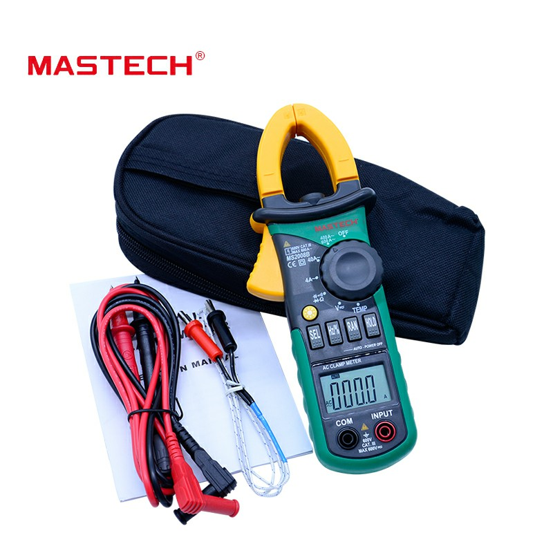 Free Shipping MASTECH MS2008B AC/DC Digital Clamp Meter Electric Multimeter Auto Range Current Ammeter free shipping mastech ms2138 ac dc digital clamp meterac dc digital clamp meter