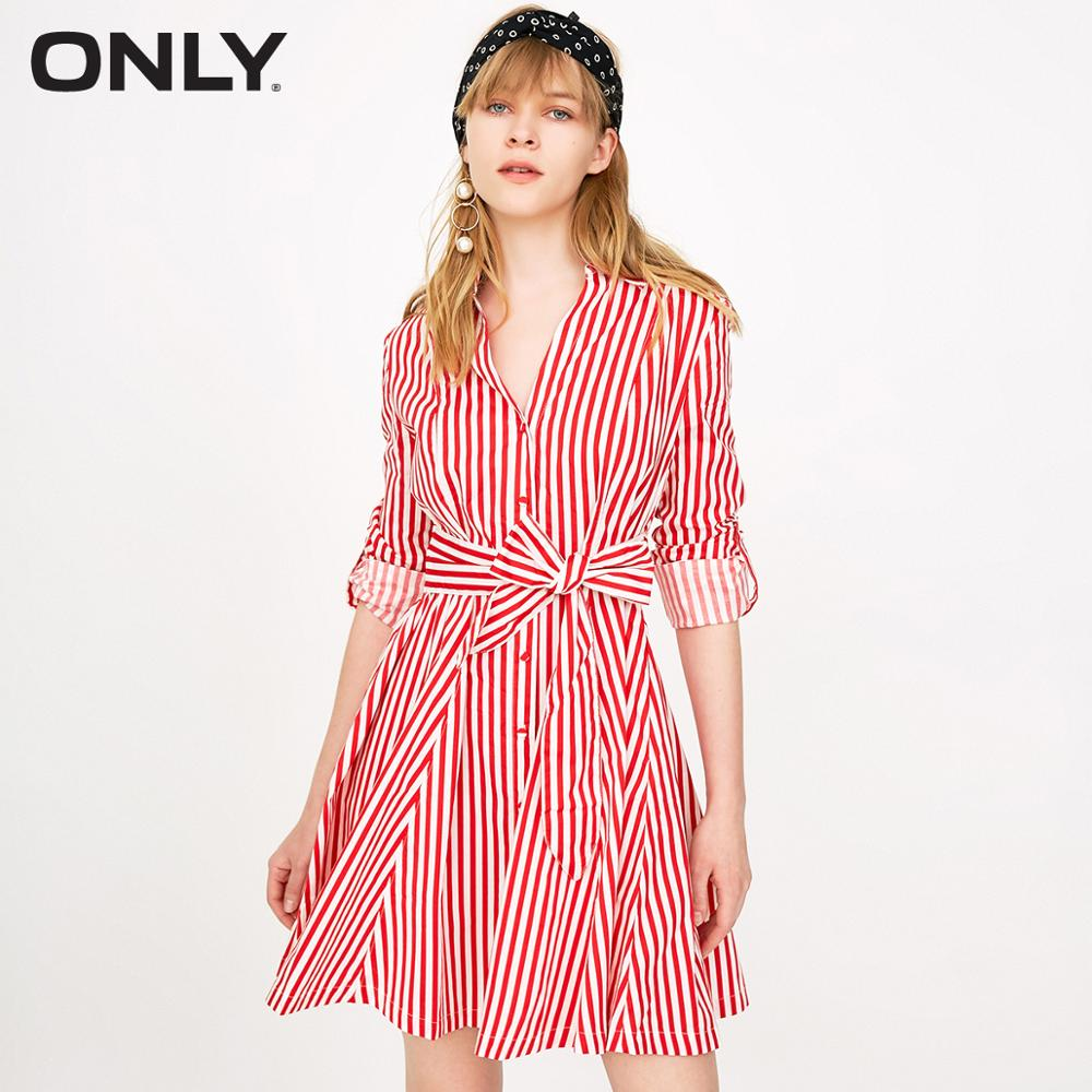 ONLY Single-breasted Cinched Waist Shirt Dress |118107687