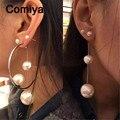Comiya имитация перл посеребренная серьги для женщин девушка партии подарок цинковый сплав мотаться pendientes mujer moda