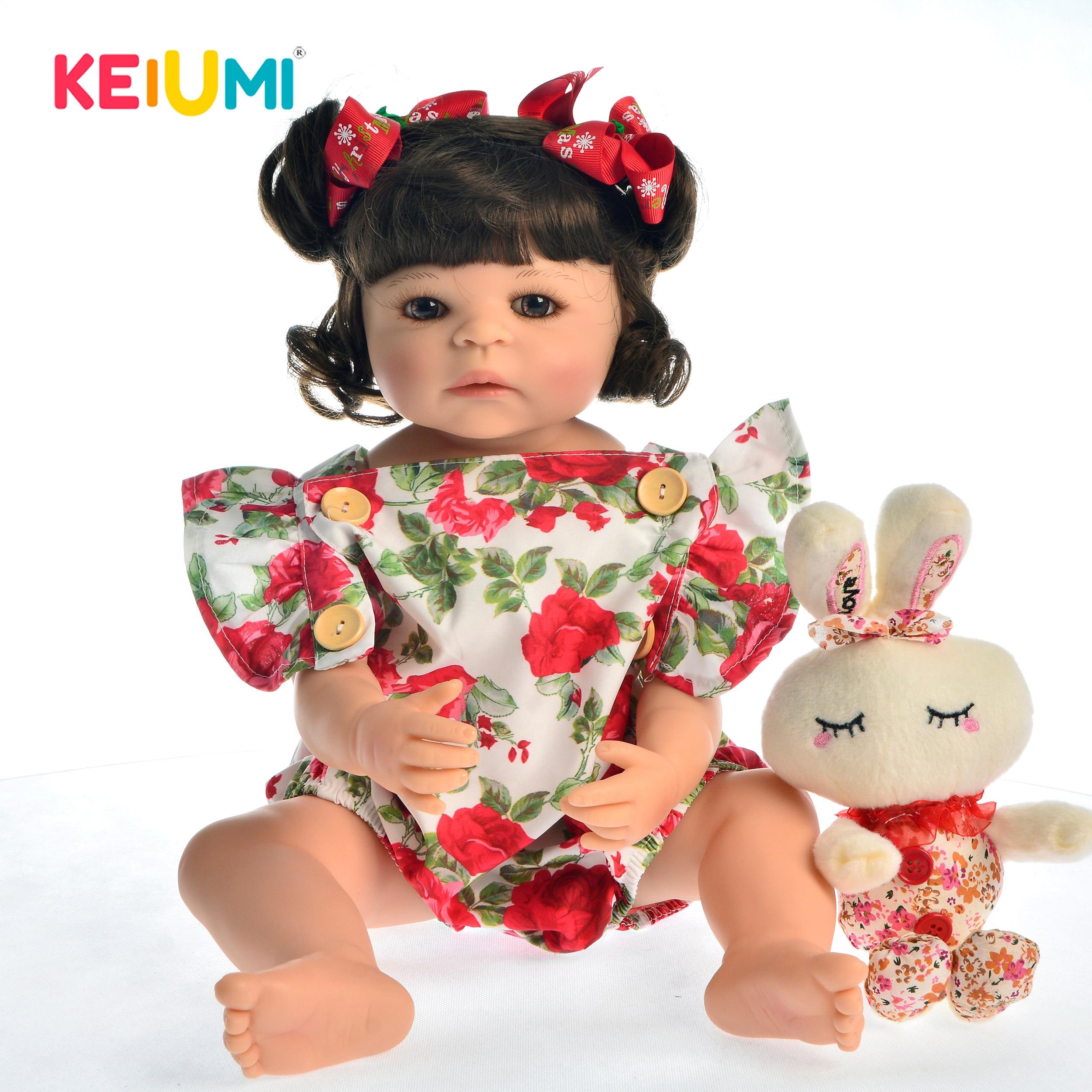 """Oyuncaklar ve Hobi Ürünleri'ten Bebekler'de Sıcak Satış 22 """"55 cm Silikon Tam Vücut Yeniden Doğmuş Bebek Bebek Oyuncak Kız Için Prenses Bebekler Oyuncak Giyim Gül romper Çocuk doğum günü hediyesi'da  Grup 1"""