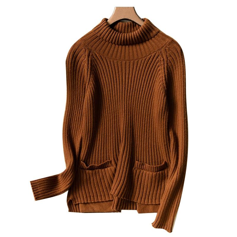 Brown De hiver Chandail Confortable Pull livraison Chaud Top pu Cachemire Zehangsea Knit Mode rose Femmes Lâche Beige Ciel En caramel Gratuite dark Colour Pull BCw8xq