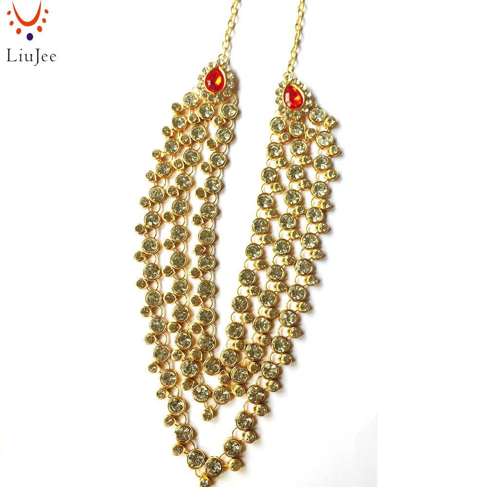 Liujee Simple Red & Clear Kundan Indian Bridal Vintage Jewelry Necklace  Tikka Jhumar Wedding Bridesmaids Party Prom Nk012