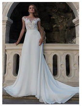 LORIE Chiffon Boho Wedding Dress 2019 Sleeveless Lace Appliqued Beach Gown Open Back Bride Dresses