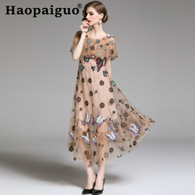 Plus Size Embroidery Floral Butterfly Long Dress Women Short Sleeve Ruffles Evening Party Dress Women High Quality Ladies Dress plus size bandana floral butterfly sleeve dress