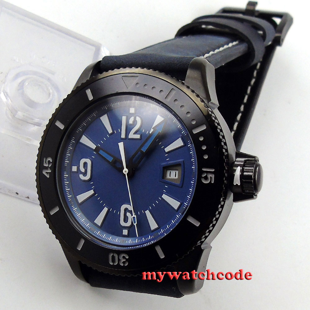 лучшая цена 43mm BLIGER blue dial PVD case date automatic mens wrist watch 3