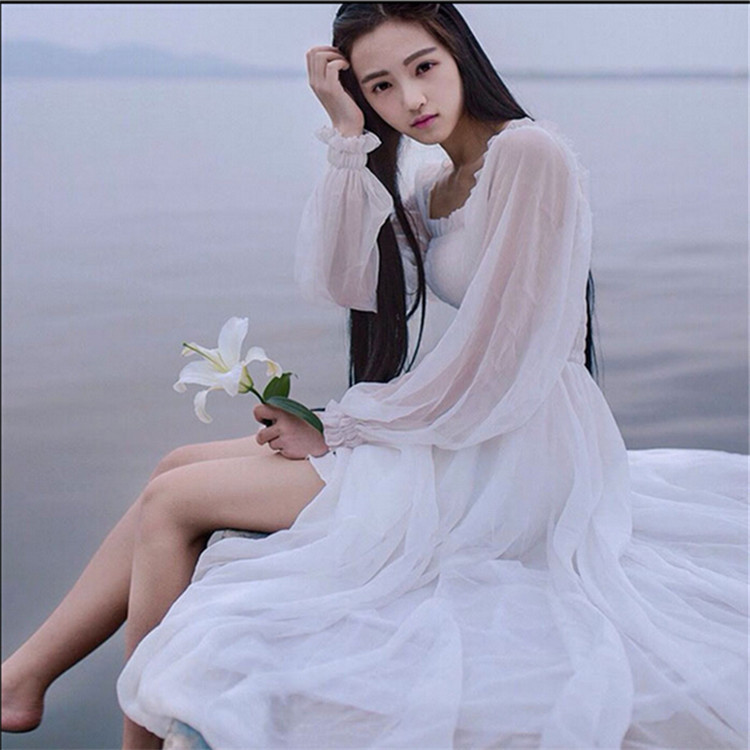 Womens Beautiful Elegant Bohemian Beach Dress 2017 New Long Sleeve High Waist Slim Women Chiffon Dress One Piece Dress White