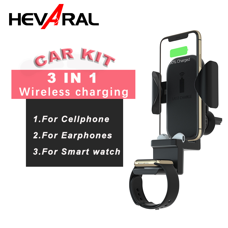 HEVARAL Wireless Car Kit Charger 3 In 1 Wireless Charging For iphone x xs xr For Bluetooth Earphone For Smart phone 2019 New