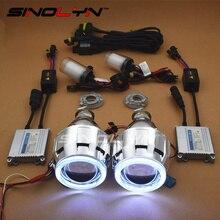 "SINOLYN HID Bi xenon Lenses Car Projector Daytime Running Lights Angel Eyes Headlight Kit DIY Retrofit Car-Styling 2.5"" H4 H7"