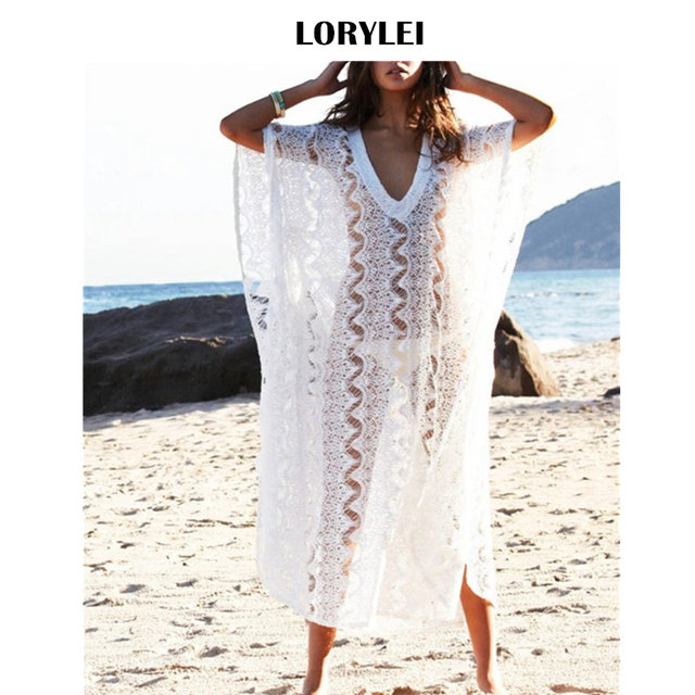 acce25146bb Oversize Lace Pareo Beach Cover Up White Kaftan Women Summer Plus Size  Sarongs Beachwear Sheer Mesh