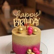 С днем рождения акриловый торт Топпер Золотой Розовый Кекс Топпер для девочек Дети День Рождения Торт украшения детский душ
