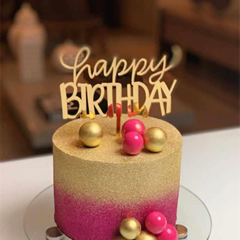 ใหม่ Happy วันเกิดเค้กอะคริลิค Topper Gold Rose สีชมพู Cupcake Topper สำหรับเด็กผู้หญิงวันเกิดเค้กตกแต่ง Baby Shower