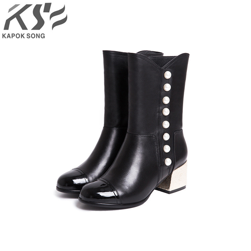 pearl genuine leather boots women luxury designer brand female vivets fashion really leather winter boots women 2016 designer snow boots with pearls and diamonds genuine leather pearl boots for women purple color