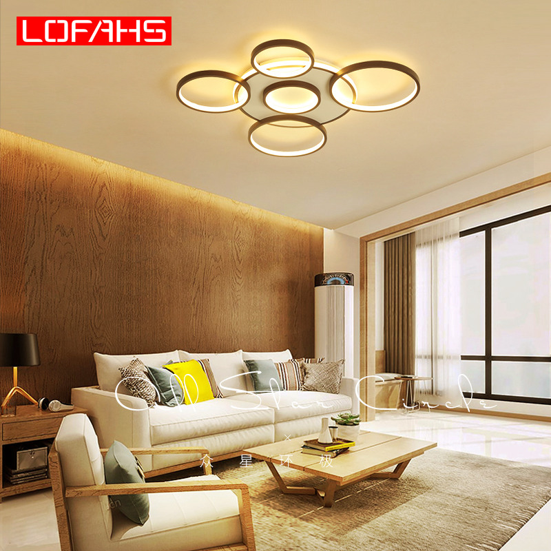 LOFAHS New modern LED Chandelier lighting for Living room bedroom kitchen dinning room Brown scrub ceiling Chandelier lamp