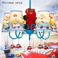 Mediterrane blauwe cartoon auto kroonluchter kinderkamer jongen slaapkamer kinderen Europese creatieve Kroonluchter gratis verzending-in Hanglampen van Licht & verlichting op