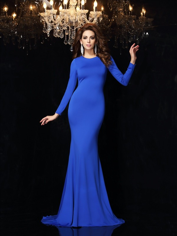 New 2017 Sexy Simple Long Sleeves Mermaid Jersey   Evening     Dresses   Long High Neck Open Back Women Formal Prom Party Gowns
