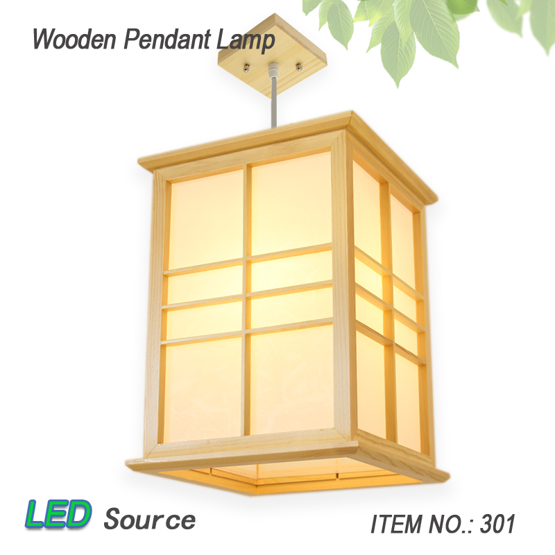 Japanese Tatami Style Square LED Solid Wood Pendant Lamp With Pinus Sylvestris Lampshade No.301 For Balcony Foyer Aisle