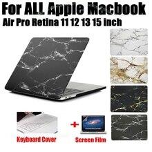 Mármol moda Impresión Mate Protector Duro Caso Para Macbook Air 11 12 13 Pro 13 15 pulgadas con Retina + Cubierta Del Teclado MB03