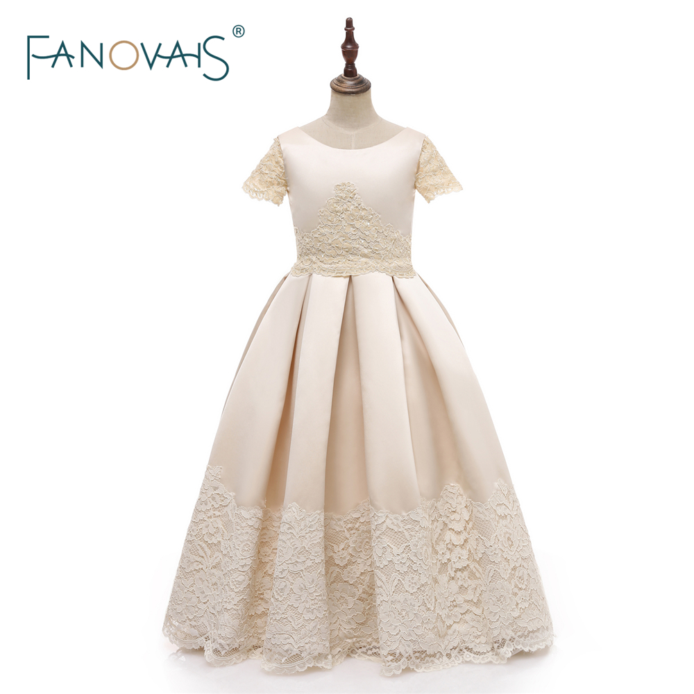 Champagne   Flower     Girl     Dresses   2018 A-Line Satin   Girl   Party   Dress   Wedding Communion   Dresses   Pageant Gown vestido daminha FL12
