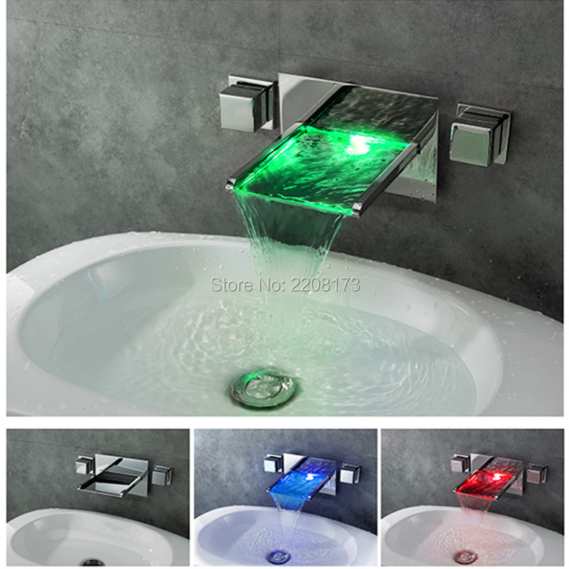 Smesiteli Promotions Retail High Quality Bathroom Mixer Tap Color Changing LED Waterfall Wall Mount Bathroom Sink Faucet