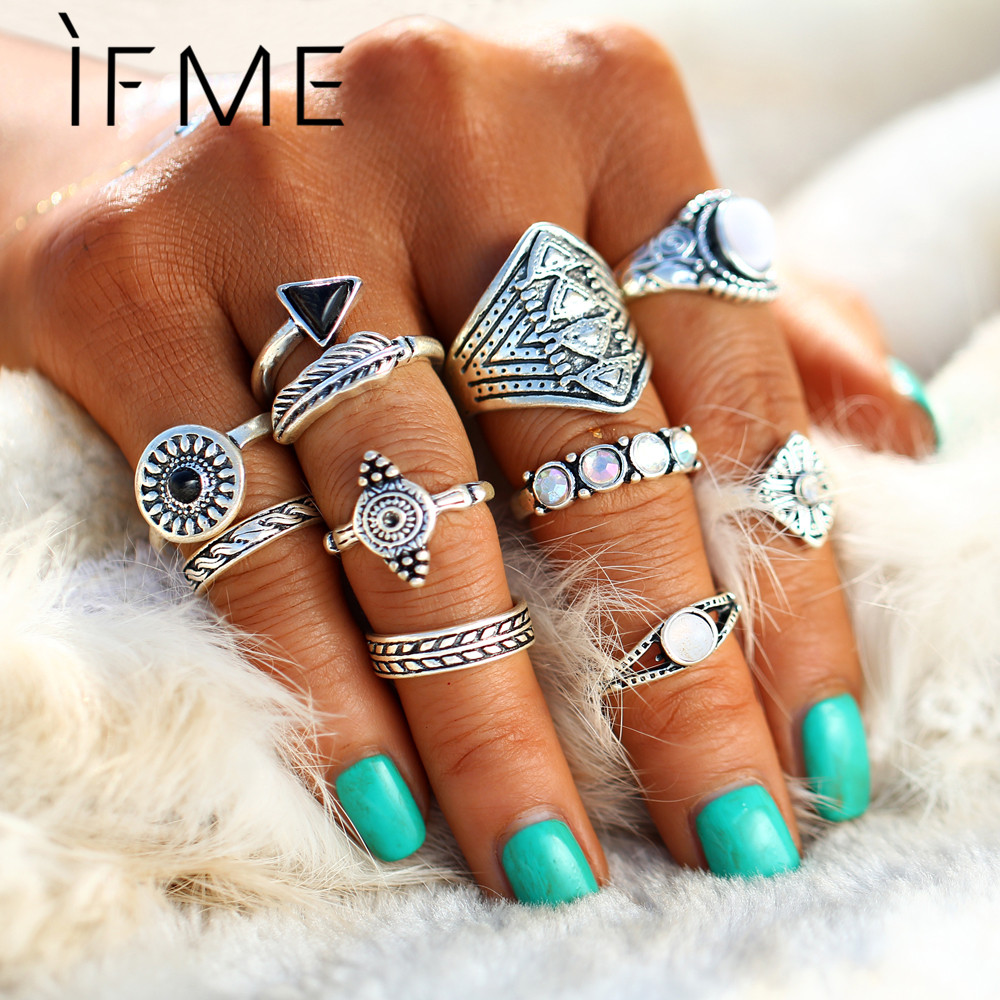 IF ME New 10 unids / set Vintage Punk Anillo Set Color Plata Antigua Hoja midi Anillos Mujeres Boho Beach Joyería Natural Opal Stone Regalo