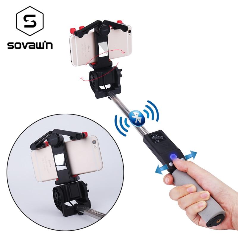 Sovawin Inteligente Sem Fio Bluetooth Extensível Monopé Selfie Vara Elétrica de 360 Graus de Rotação Universal para Smartphone