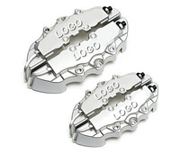 2 Pair Universal Car 3D Breb Style Disc Brake Caliper Covers Front Rear Red Color Size