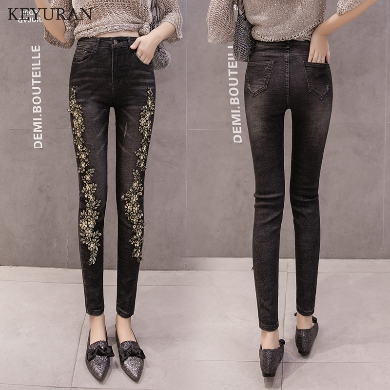 Woman Flower Embroidered   Jeans   Femme Diamond Denim Pencil Pants For Women Black Slim Stretch Skinny Trousers Capris Feminina