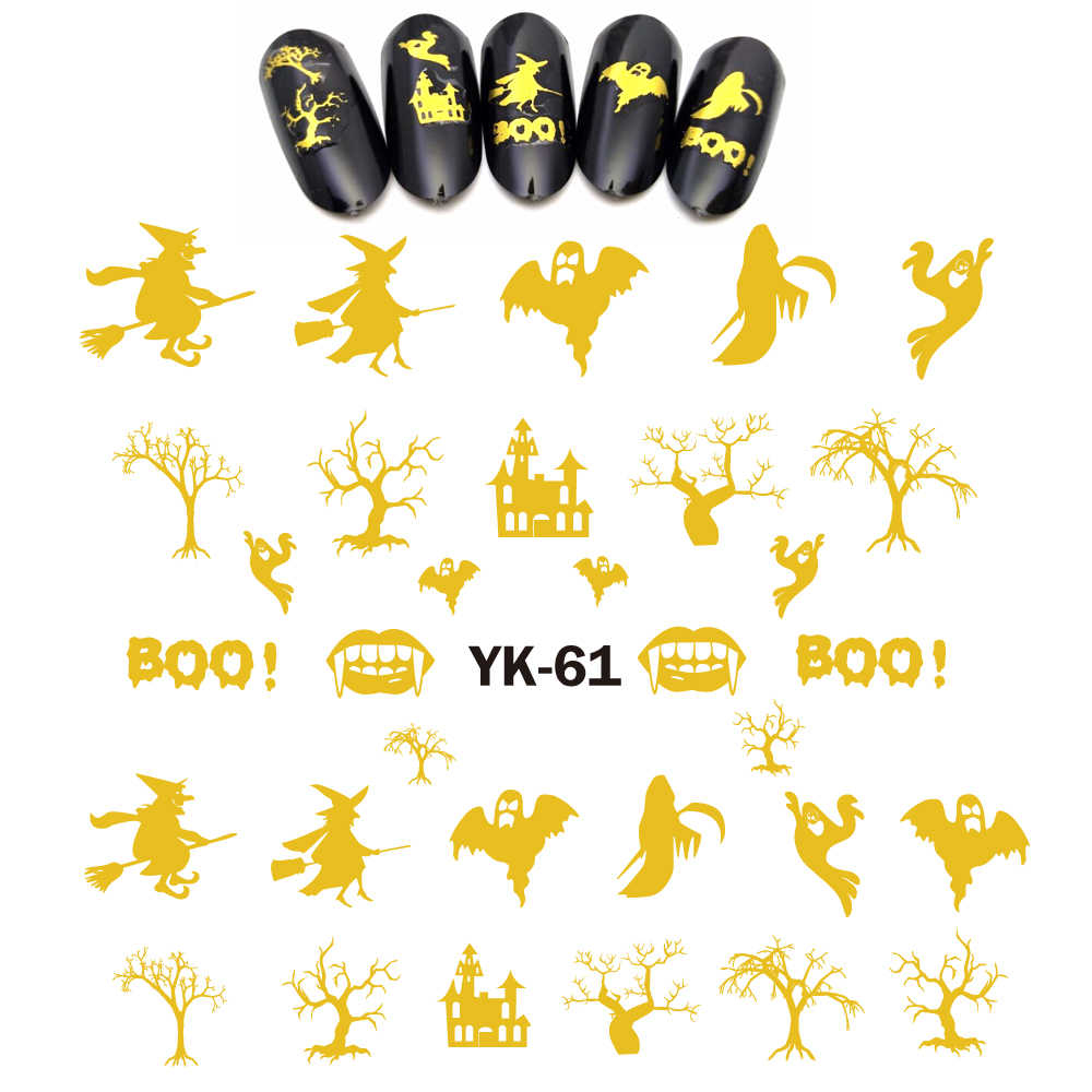 Gold/ Silver Water Stickers Metallic Nail Decals HALLOWEEN TREE GHOST WITCH BATS PUMPKIN CAT CLAW SPIDER YK61-66