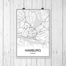 World City Map HAMBURG Germany Print Poster Abstract Coated Paper Bar Cafe  Pub Living Room Home