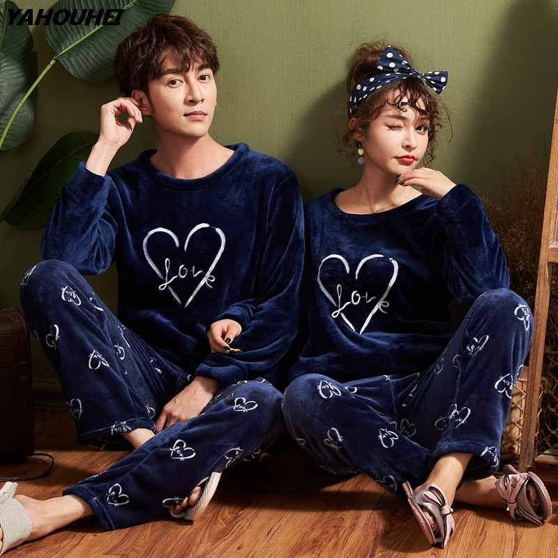 2018 Winter Couples Thick Warm Flannel   Pajama     Sets   for Women Long Sleeve Coral Velvet Pyjama Men Homewear Clothing Plus Size 5XL