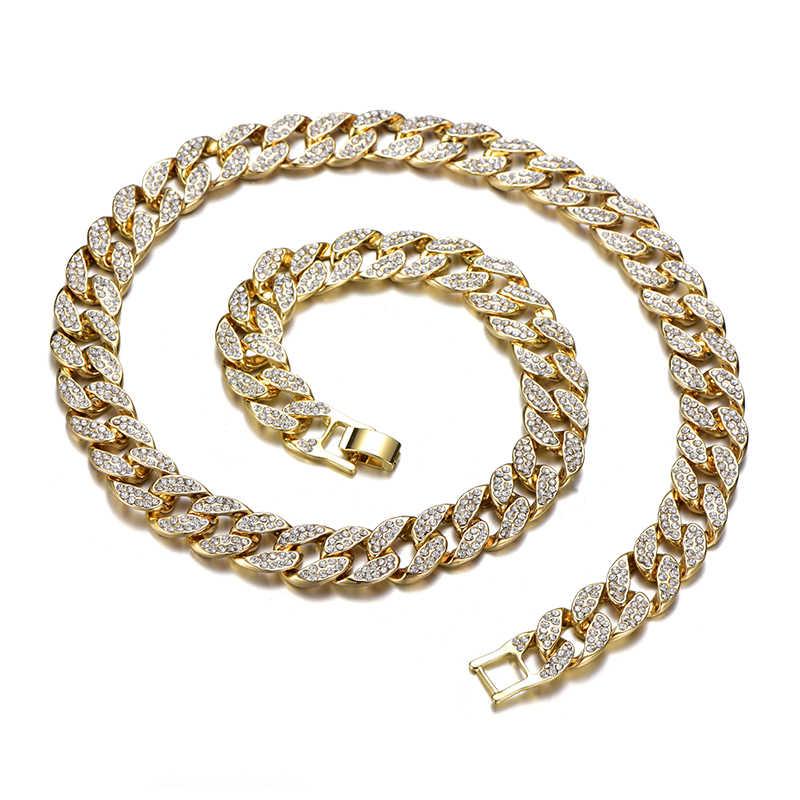 Miami Curb kubański link łańcuch wisiorek dla mężczyzn złoto srebro Hip Hop Iced Out betonowa bling Rhinestone CZ raper naszyjnik biżuteria prezent